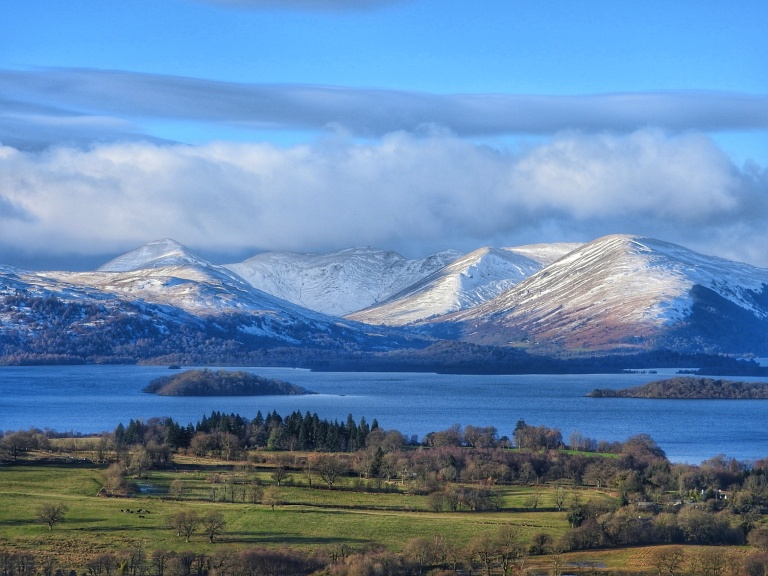 Snow on the Glen Luss mountains, photograped from Conic Hill