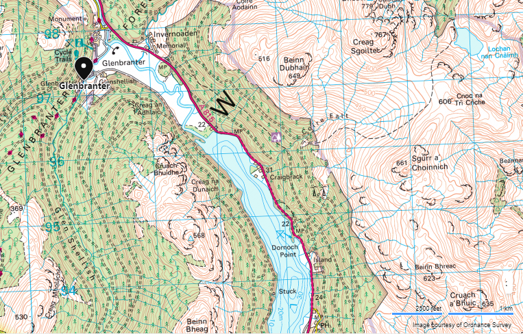 Map showing Glenbranter located at the north end of Loch Eck